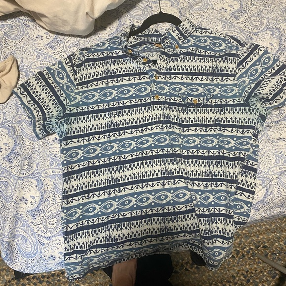 Blue patterned J-Crew, quarter button up with chest pocket